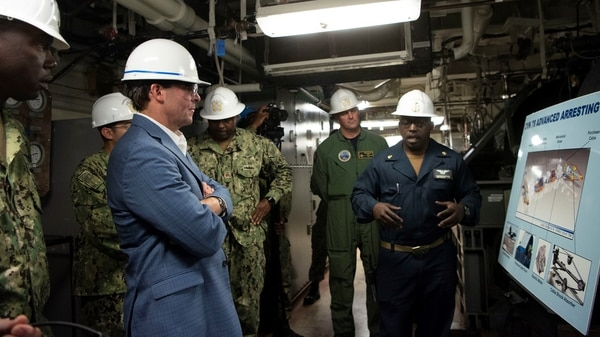 U.S. Secretary of Defense Dr. Mark T. Esper visits the USS Gerald Ford, Norfolk, Virginia, Sept. 25, 2019. (DoD photo by Lisa Ferdinando)