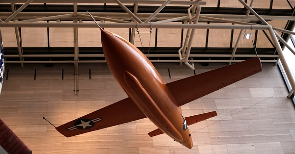 The Bell X-1, the first plane to break the sound barrier, piloted by Chuck Yeager on Oct. 14, 1947, in the Milestones of Flight exhibit at the Smithsonian National Air and Space Museum in Washington, D.C. Sunday, Dec. 7, 2014. (Gene J.Puskar/AP)