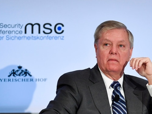 U.S. Sen. Lindsey O. Graham attends a panel discussion at the 55th Munich Security Conference in Munich, Germany, on February 15, 2019. (THOMAS KIENZLE/AFP via Getty Images)