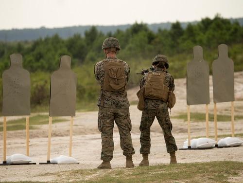 Cpl. Damiona Lott trains at a rifle range for the 22nd MEU Female Engagement Team at Camp Devil Dog, N,C,, Aug. 15, 2018. (Lance Cpl. Tawanya Norwood/Marine Corps)