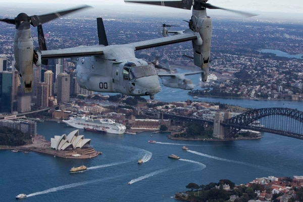 Three MV-22B Osprey tiltrotor aircraft fly in formation on June 29, 2017, above Sydney, Australia. (Staff Sgt. T. T. Parish/Marine Corps)