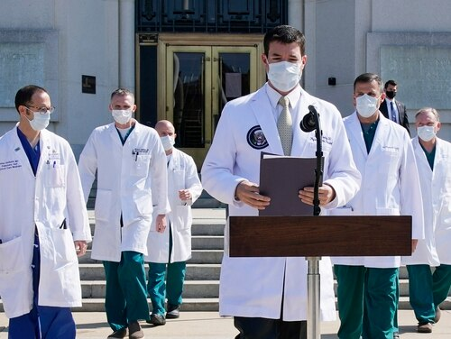 Walter Reed National Military Medical Center doctors brief the press Oct. 4. (Jacquelyn Martin/AP)
