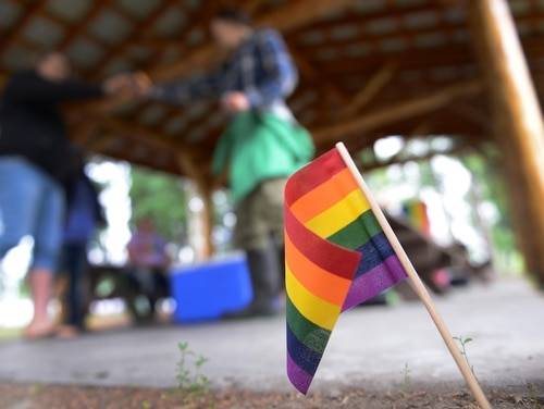 A rainbow flag is placed in the ground for Lesbian, Gay, Bisexual and Transgender Pride Month during the Picnic in the Park at Nussbaumer Park, June 27, 2015, in Fairbanks, Alaska. (Senior Airman Ashley Nicole Taylor/Air Force)