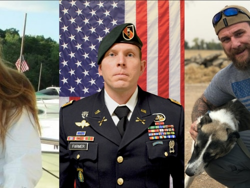 Navy Chief Cryptologic Technician Shannon Kent, left, and Army Chief Warrant Officer 2 Jonathan Farmer, right, and former Navy SEAL Scott Wirtz, far right, were killed by the Islamic State in northern Syria Jan. 16. (DoD)