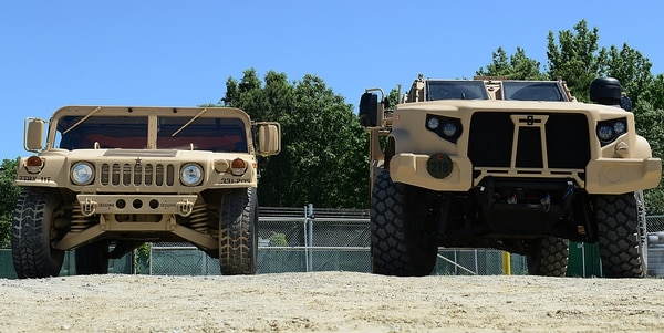 A Humvee, left, and a Joint Light Tactical Vehicle stand on display for comparison at Joint Base Langley-Eustis, Va., May 2, 2017. (Staff Sgt. Teresa J. Cleveland/Air Force)