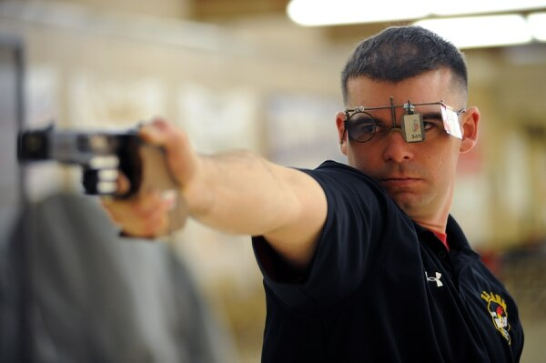 Sgt. 1st Class Keith Sanderson of the U.S. Army World Class Athlete Program, seen here practicing at the U.S. Olympic Training Center in Colorado Springs, Colo., has been selected for his third U.S. Olympic Team and will compete in the men's 25-meter rapid fire pistol event at the 2016 Rio Olympic Games. (U.S. Army photo by Tim Hipps, IMCOM Public Affairs)