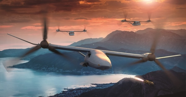 """The Marine Corps is working with industry to help inform needs for its large drone. The Bell V-247 """"Vigilant"""" Tiltrotor Unmanned Aerial System is a potential competitor for the Corps' MUX requirement. (Courtesy/Bell Helicopter)"""