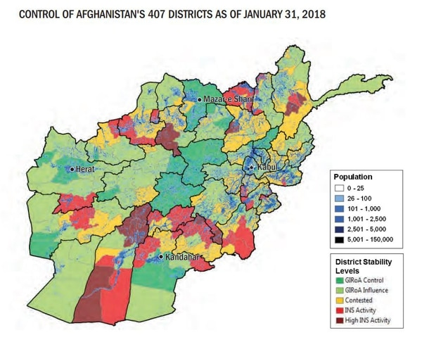 Note: GIRoA=Government of the Islamic Republic of Afghanistan. INS=Insurgent. The population data depicted here reflects how the Afghan population is dispersed throughout the country. However, the entire population of a given area is not necessarily under the district stability level indicated. A district is assigned its district-stability level based on the overall trend of land-area/population control of each district as a whole. (DoD)