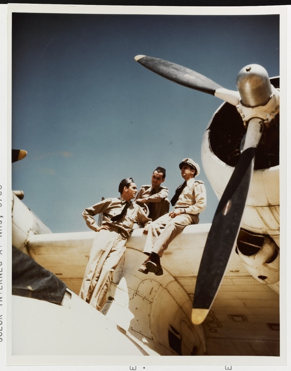A Brazilian Air Force PBY Squadron's officers sit on the wing of one of the IR PBY CATALINA Aircraft, circa 1945. They are being trained by U. S. Navy pilots. (National Archives)
