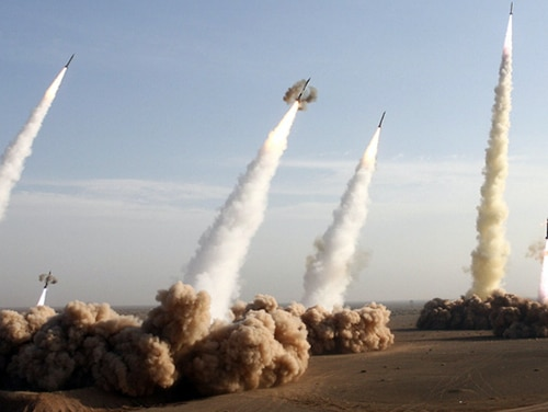 Iran's Revolutionary Guard fire test missiles during a 2006 standoff with the West over its nuclear program. Larger, more advanced missiles are among the many threats posed to NORAD and NORTHCOM in the coming years. (AFP via Getty Images)