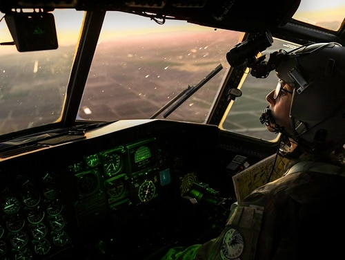 A HC-130P/N King pilot, assigned to the 39th Rescue Squadron, controls the aircraft during low-level training near Davis-Monthan Air Force Base, Ariz., in May 2018. The Air Force this month created six new developmental categories for nearly nine in 10 officers, including pilots, who were previously part of the massive Line of the Air Force category. (Staff Sgt. Trevor McBride/Air Force)