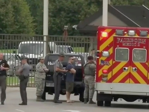 In this frame from video from WKEF, authorities work at the Wright-Patterson Air Force Base in Ohio amid reports of an active shooter at the base in August. (WKEF via AP)