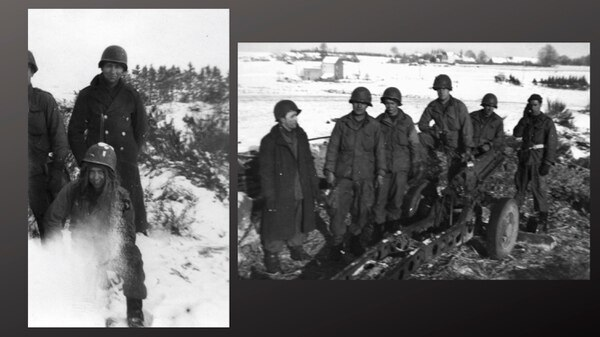 Pfc. Lawrence Boudreaux and members of the 321st Glider Field Artillery Battalion in Savy, Bastogne, Luxembourg during the Battle of the Bulge. Boudreaux is standing behind Pfc. Gilbert Quinn in the left photograph. Boudreaux is second from the right in the group photograph.