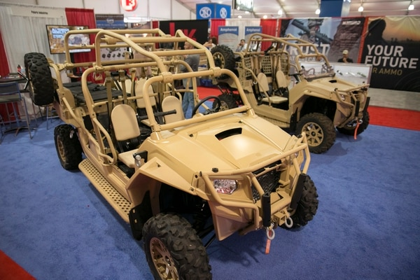 Polaris MRZR 4-seat and 2-seat vehicles on display at Modern Day Marine expo at Marine Corps Base Quantico in Quantico, Va., on Thursday, September 24, 2015.