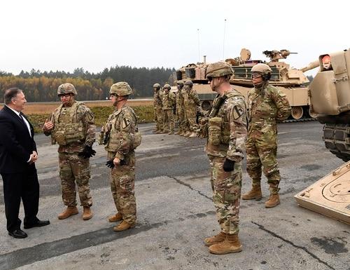 U.S. Secretary of State Mike Pompeo talks to U.S. soldiers based in Grafenwoehr, Germany, on Nov. 7, 2019. (Jens Meyer/AP)