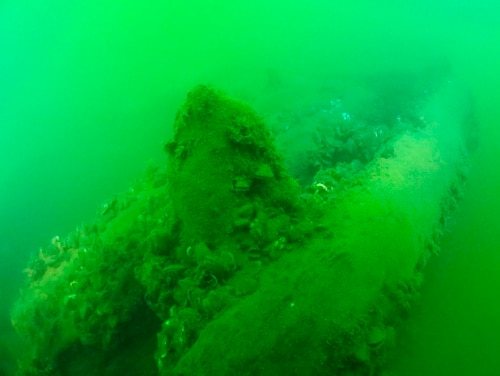 This Sept. 4 photo provided by Cleveland Underwater Explorers Inc. shows the remains of a shipwreck found in the Ohio waters of Lake Erie. Shipwreck hunters and a marine archaeologists say the wreckage found in 2015 is most likely from a sailing ship that went down nearly two centuries ago. The discovery would make it the oldest ever found in the lake. (David M VanZandt/Cleveland Underwater Explorers Inc. via AP)