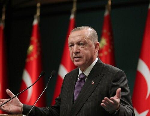 Turkey's President Recep Tayyip Erdogan speaks after a cabinet meeting, in Ankara, Turkey, Dec. 14, 2020. (Turkish Presidency via AP, Pool)