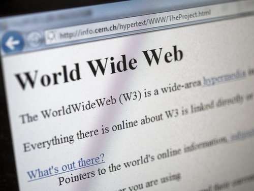 This picture taken on April 30, 2013 in Geneva shows a 1992 copy of the world's first web page. The world's first web page will be dragged out of cyberspace and restored for today's Internet browsers as part of a project to celebrate 20 years of the Web. The European Organisation for Nuclear Research (CERN) said it had begun recreating the website that launched that World Wide Web, as well as the hardware that made the groundbreaking technology possible. British physicist Tim Berners-Lee invented the World Wide Web, also called W3 or just the Web, at CERN in 1989 to help physicists to share information, but at the time it was just one of several such information retrieval systems using the Internet. AFP PHOTO / FABRICE COFFRINI (Photo credit should read FABRICE COFFRINI/AFP/Getty Images)