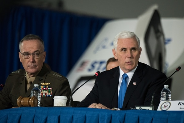 Vice President Mike Pence at the 2nd National Space Council meeting at the John F. Kennedy Space Center in Feb. 2018. The Vice president chairs the council, which was revived by the Trump administration in 2017. (Photo by U.S. Army Sgt. James K. McCann)