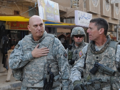 Gen. Ray Odierno,Commanding General, Multi-National Forces-Iraq, and U.S. Army Lt. Col. Joseph McGee, Commander of 2-327 Infantry Battalion, 1st Brigade Combat Team, 101st Airborne Division, walk through the streets of Samarra to visit the locals, on Oct. 29, 2008. (U.S. Army photo by Sgt. Kani Ronningen/Released)