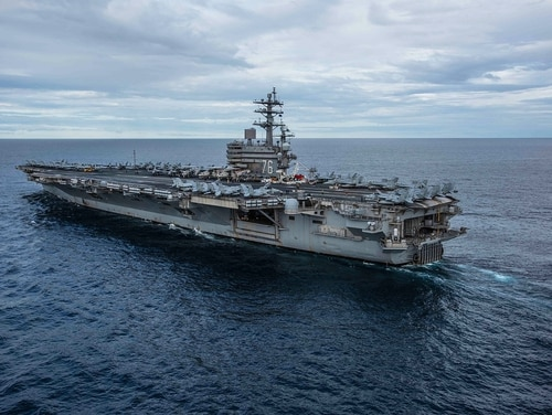 The U.S. Navy's forward-deployed aircraft carrier Ronald Reagan cruises during Talisman Sabre 2019 on July 22, 2019, in the Coral Sea. (MC2 Kaila Peters/U.S. Navy)