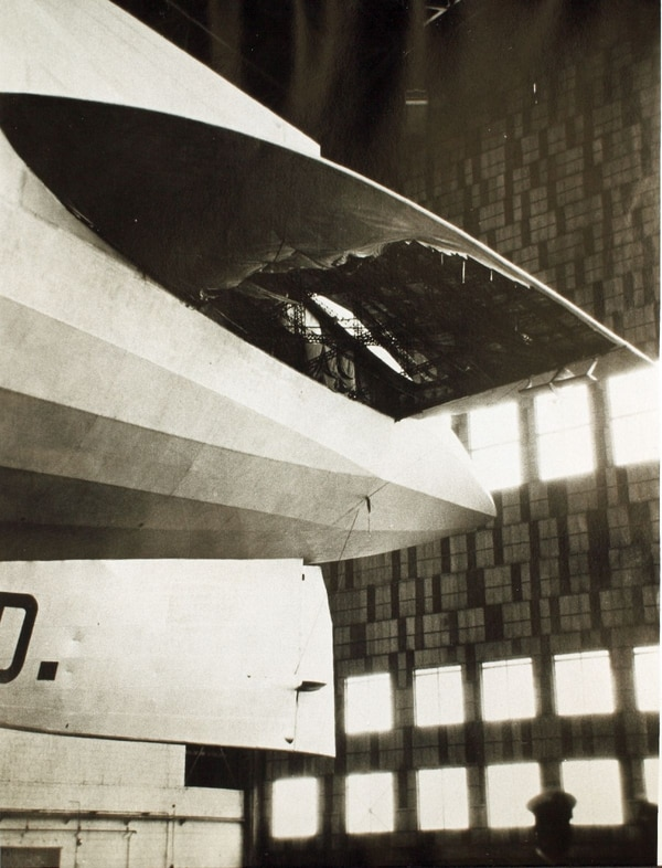 Graf Zeppelin damage after its first trans-Atlantic flight, Oct. 12, 1928. (San Diego Air & Space Museum)