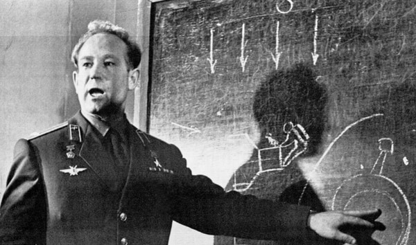 In this March 26, 1965, photo, cosmonaut Alexei Leonov, who stepped into space from the Voskod-2 spaceship, speaks in Moscow. Leonov, the first human to walk in space. (AP Photo)