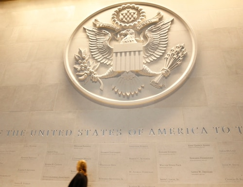 A general view of the main lobby entrance with a large Department of State embossed seal, along with all the names of the ambassadors to the Court of St James's at the new United States embassy building during a press preview near the River Thames in London, Wednesday, Dec. 13, 2017. (Alastair Grant/AP)