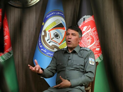 Afghan Interior Minister Masoud Andarabi speaks during an interview to the Associated Press at the Ministry of the Interior in Kabul, Afghanistan, March. 13, 2021. (Rahmat Gul/AP)