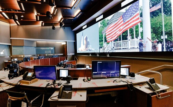 This is the CSR Battle Deck at U.S. Strategic Command's new Command and Control Facility located at Offutt Air Force Base on Thursday, Jan. 24, 2019, in Omaha, Neb. (Ryan Soderlin/Omaha World-Herald via AP)