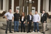 Student veterans pose for a photo on campus Liberty University in Lynchburg, VA, on Thursday, October 29, 2015. From left: Joshua Travers, Marine Corps; Randall Melton, Navy; Cari Crabtree, Army; Ian Ortiz, Army; Drew Novy, Marine Corps and Joshua Sheriff, Army.