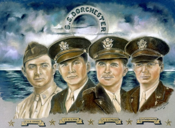 When the U.S. Army Transport Dorchester was struck by a German submarine, Feb. 3, 1943, four Army chaplains spread out among the Soldiers, calming the frightened, tending the wounded and guiding the disoriented toward safety. (Courtesy graphic)