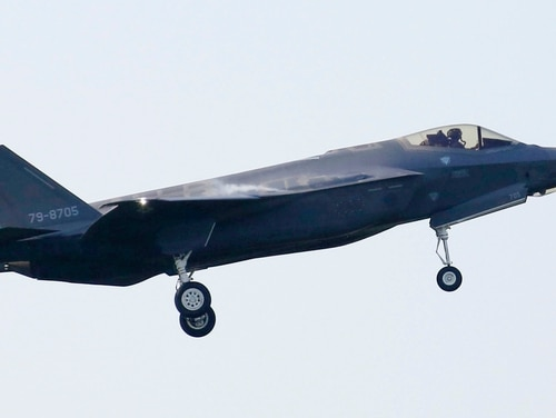 An F-35A of the Japan Air Self-Defense Force flies from Misawa Air Base on May 28, 2018. (Kyodo News via AP)