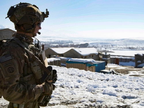 A paratrooper provides security during a key leader engagement Feb. 1, 2020, in southeastern Afghanistan. (Master Sgt. Alejandro Licea/Army)