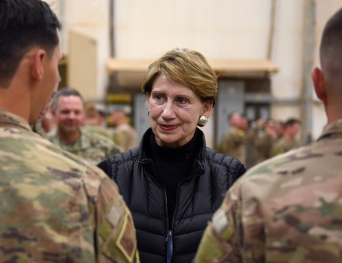 Secretary of the Air Force Barbara M. Barrett speaks to Airmen deployed to the 724th Expeditionary Air Base Squadron during her visit to Nigerien Air Base 201, Niger, Dec. 21, 2019. (Staff Sgt. Alex Fox Echols III/Air Force)