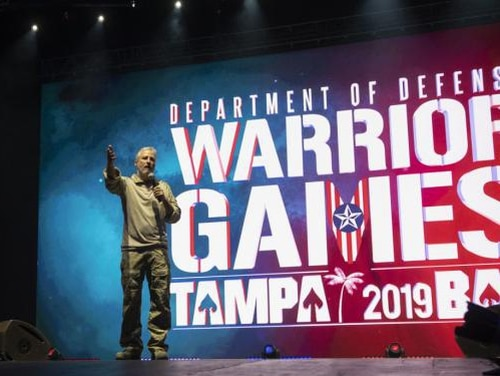 Comedian Jon Stewart delivers remarks at the opening ceremony of the Department of Defense Warrior Games in Tampa on Saturday. (Lisa Ferdinando/Department of Defense)