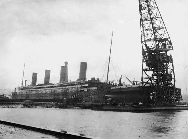 The Titanic in dry dock at the Harland and Wolff shipyard in Belfast, Northern Ireland, in February 1912. (Topical Press Agency/Hulton Archive via Getty Images)