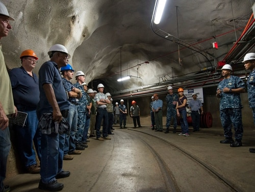 Senior Navy officials briefed the Honolulu Board of Water Supply, Moanalua Valley Community Association and Pearl City Neighborhood Board No. 21 during a 2015 visit to one of the fuel tanks at the Red Hill Underground Fuel Storage Facility near Pearl Harbor. (Navy)