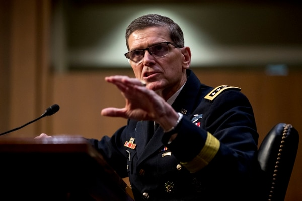 U.S. Central Command Commander Gen. Joseph Votel speaks at a Senate Armed Services Committee hearing on Capitol Hill, Tuesday, Feb. 5, 2019, in Washington. (AP Photo/Andrew Harnik)