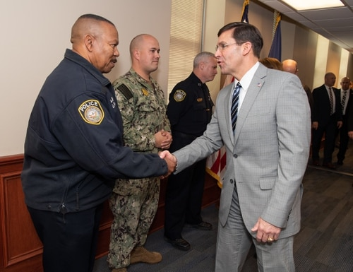 Secretary of Defense Mark Esper meets with personnel during a Jan. 22 visit at Naval Air Station Pensacola in Florida. (DoD)
