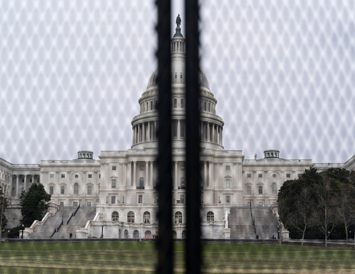 An inner perimeter anti-scaling fence is around the U.S. Capitol, Tuesday, March 16, 2021, in Washington. (Alex Brandon/AP)
