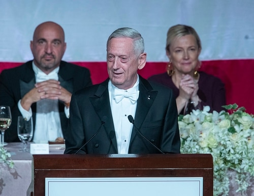 Former Secretary of Defense Jim Mattis, center, delivers the keynote address during the 74th Annual Alfred E. Smith Memorial Foundation Dinner, Thursday, Oct. 17, 2019, in New York. (Mary Altaffer/AP)