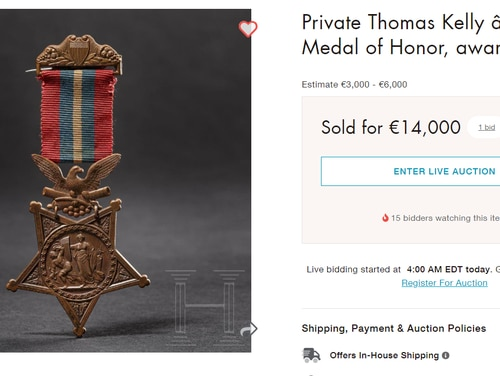The auction listing says the item sold for €14,000 -- more than $15,000. (Screenshot from liveacutioneers.com)