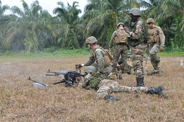 U.S. Marines assigned to Special Purpose Marine Air-Ground Task Force-Crisis Response-Africa ground combat element trained with the Cameroon Marines in infantry tactics at a training site in Cameroon, Feb. 14, 2018. (Gunnery Sgt. Rebekka S. Heite/Marine Corps)