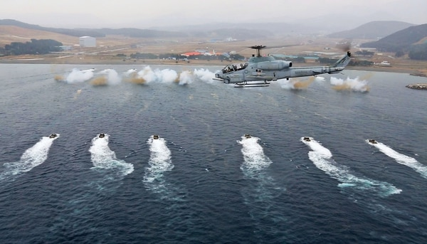 South Korean marines participate in a mock amphibious assault in Pohang, South Korea, March 29, 2014, during exercise Ssang Yong 2014, part of Marine Expeditionary Force Exercise (MEFEX) 2014. (Master Sgt. Michael Schellenbach/Marine Corps)