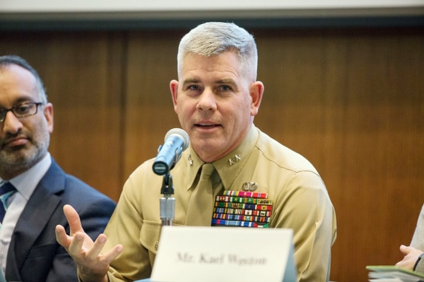 Maj. Gen. Joseph Osterman, former commanding general of the 1st Marine Division, participates in a panel discussion about Operation Moshtarak and the Marjah campaign, held at the General Alfred M. Gray Marine Corps Research Center aboard Marine Corps Base Quantico, Va., on Thursday, February 12, 2015. (Mike Morones/Staff)