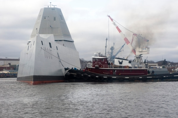 160324-N-DM751-001 BATH, Maine (March 24, 2016) The future guided- missile destroyer USS Zumwalt (DDG 1000) departs the Bath Iron Works shipyard for its second at-sea period to conduct builder's trials, during which many of the ship's key systems and technologies will be demonstrated. In addition to systems testing, the Navy-industry team will be conducting numerous operational demonstrations in preparation for acceptance trials in April. DDG-1000 is the lead ship of the Zumwalt-class destroyers, a class of next-generation multi-mission surface combatants tailored for land attack and littoral dominance with capabilities that defeat current and projected threats. (U.S. Navy photo by Christianne M. Witten/Released)
