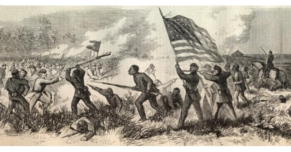 An illustration of the Battle of Milliken's Bend on June 7, 1863, part of the Vicksburg Campaign of the American Civil War. (Theodore R. Davis)