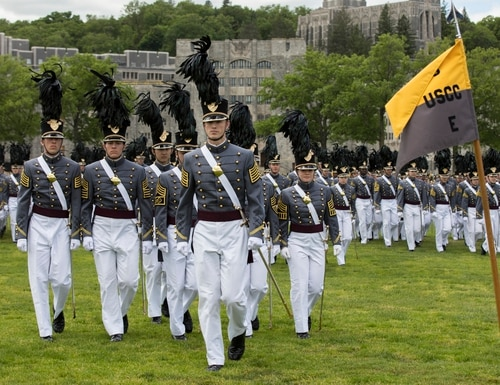 Cadets participate in a graduation parade at the academy in May. After a cadet went missing this weekend, military, state and federal agencies were searching for him. (Matthew Moeller/lArmy)