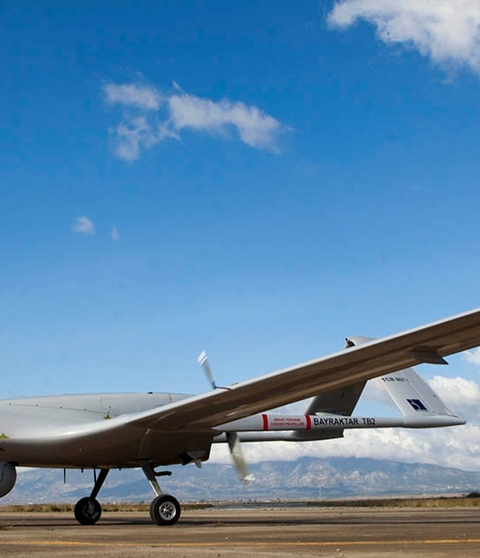 The Bayraktar TB2 drone is pictured on Dec. 16, 2019, at Gecitkale Airport in Famagusta in the self-proclaimed Turkish Republic of Northern Cyprus (TRNC). The Turkish military drone was delivered to northern Cyprus amid growing tensions over Turkey's deal with Libya that extended its claims to the gas-rich eastern Mediterranean. (Birol Bebek/AFP via Getty Images)